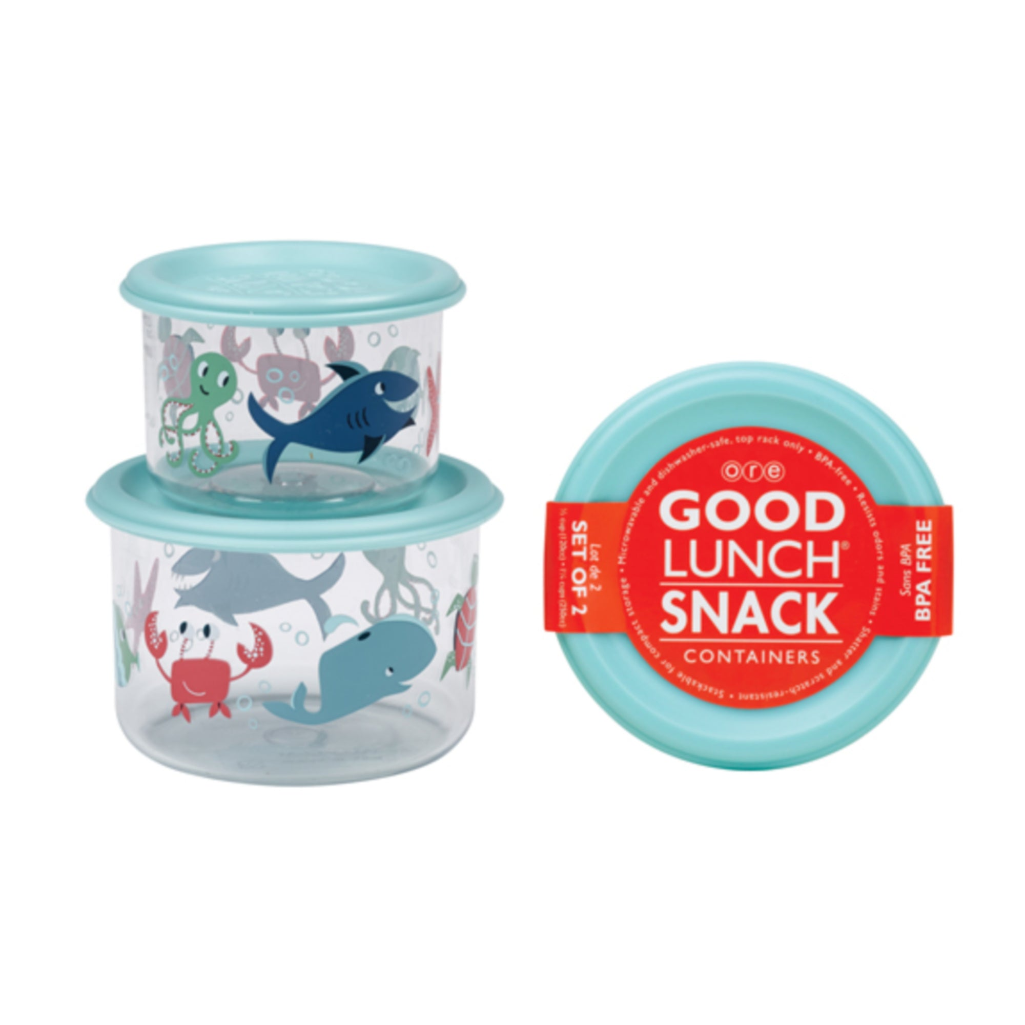 2 PACK SNACK CONTAINER -- OCEAN