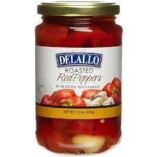 De Lallo Roasted Red Peppers With Garlic (12x12oz)