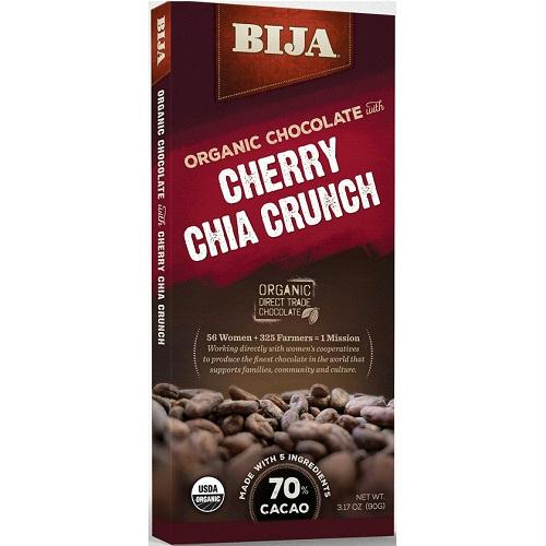 Bija Cherry Chia Crunch Chocolate Bar (10x3.17 Oz)