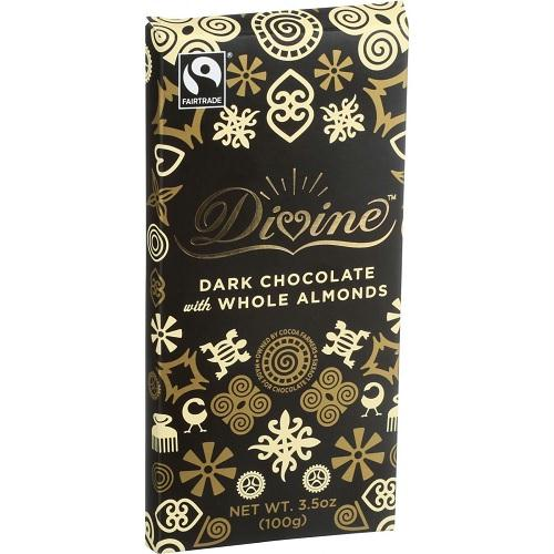 Divine Chocolate Dark Chocolate With Whole Almonds Bar (10x3.5 Oz)