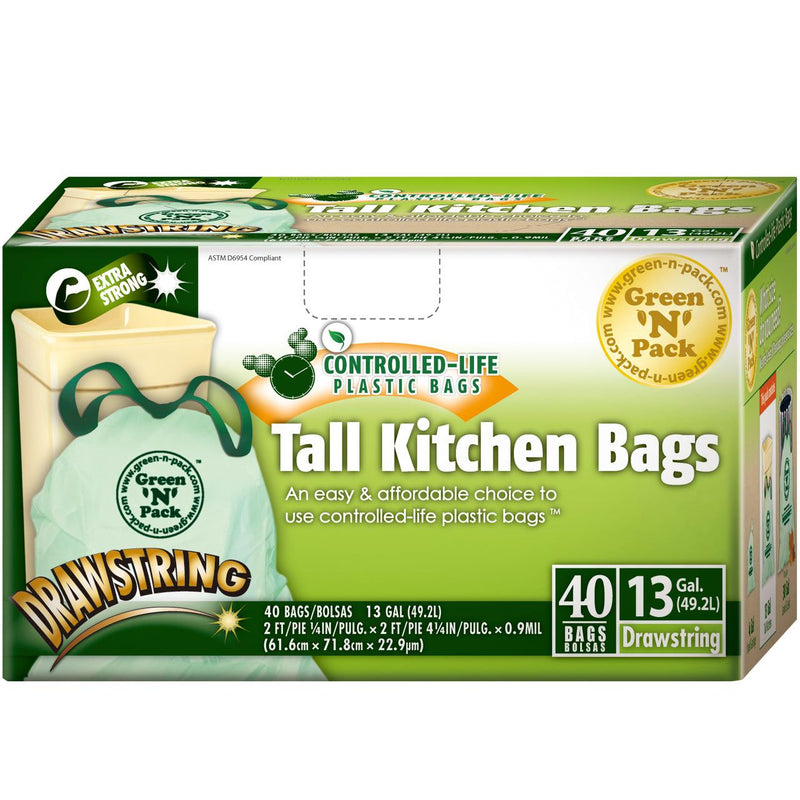 Green-n-count Tall Kitchen Trash Bags 13 Gallon (1x40 Count)