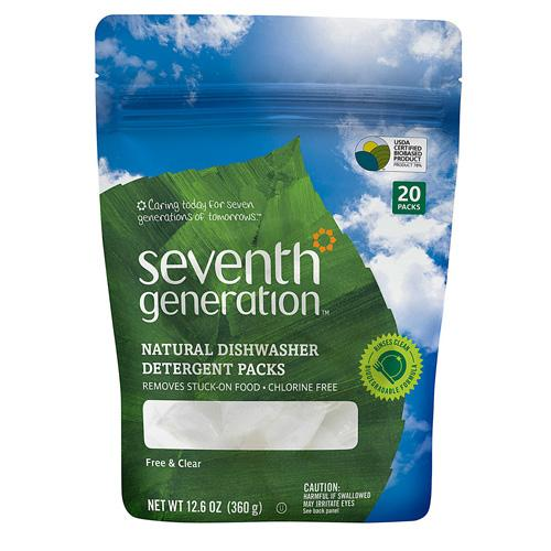 Seventh Generation Natural Dishwasher Detergent Pacs, Free & Clear (1x20 Ct)