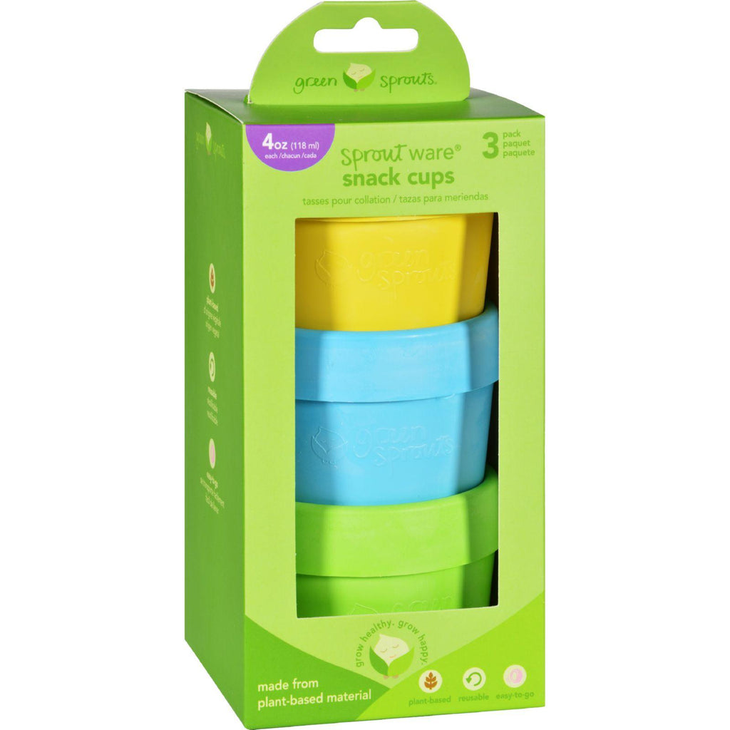 Green Sprouts Snack Cups  Sprout Ware  6 Months Plus  Aqua Assorted  3 Pack