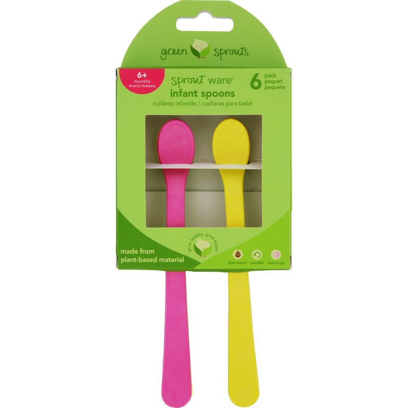 Green Sprouts Infant Spoons  Sprout Ware  6 Months Plus  Pink Assorted  6 Pack