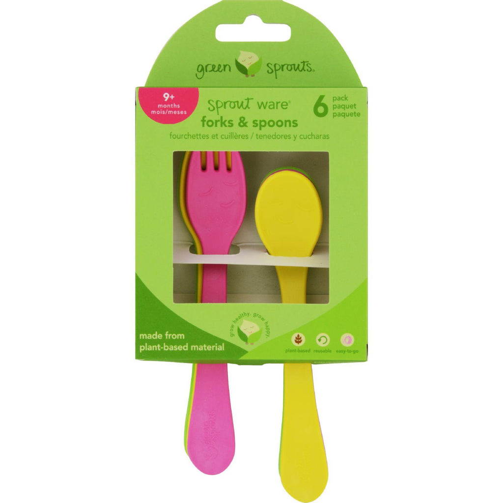 Green Sprouts Forks And Spoons  Sprout Ware  9 Months Plus  Pink Assorted  6 Pack