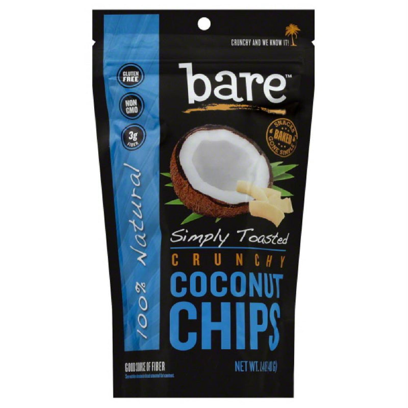 Bare Simply Toasted Crunchy Coconut Chips, 1.4 Oz (Pack of 12)