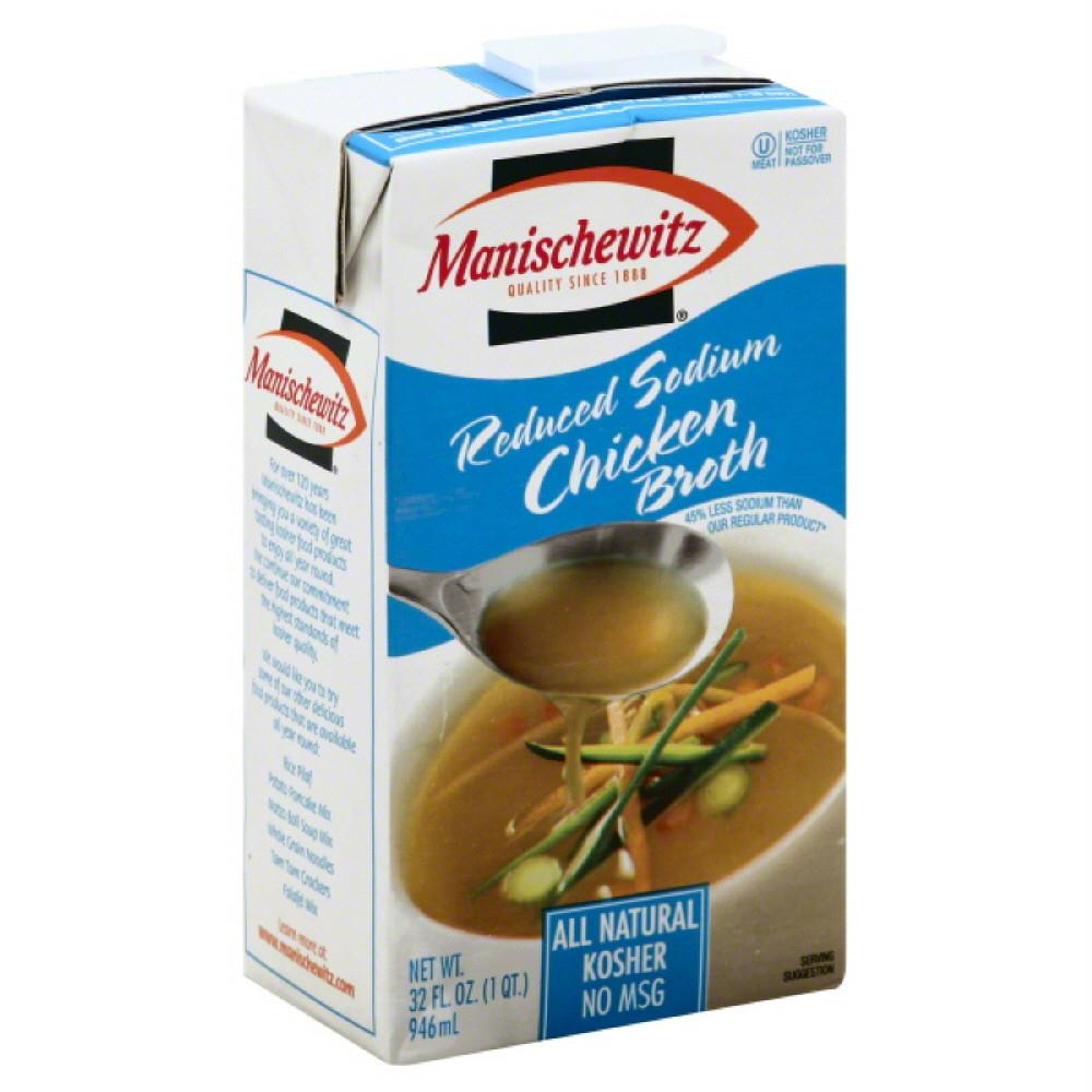 Manischewitz Reduced Sodium Chicken Broth, 32 Oz (Pack of 12)