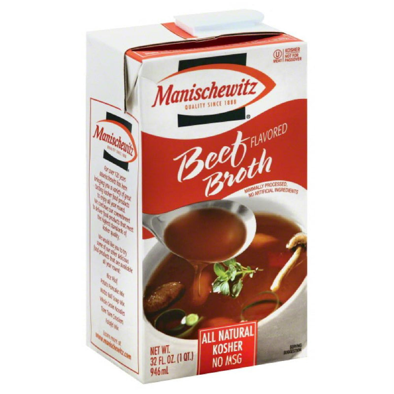 Manischewitz Beef Flavored Broth, 32 Oz (Pack of 12)