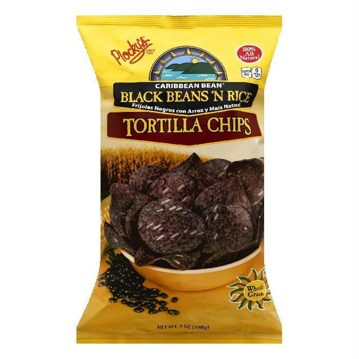 Plockys Black Beans 'N Rice Caribbean Bean Tortilla Chips, 7 OZ (Pack of 12)