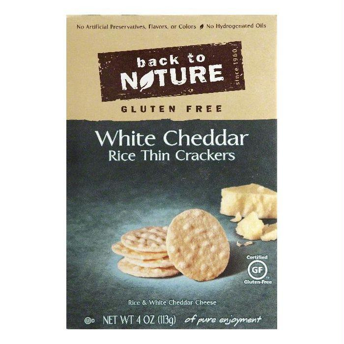 Back To Nature Gluten Free White Cheddar Rice Thin Crackers, 4 OZ (Pack of 12)