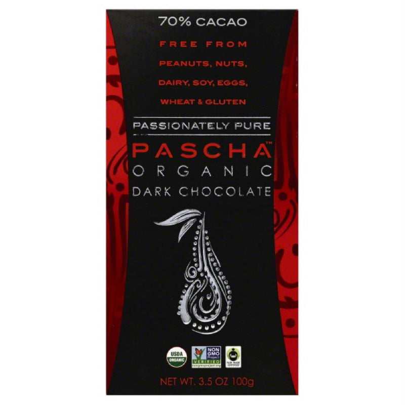 Pascha 70% Cacao Organic Dark Chocolate, 3.5 Oz (Pack of 10)