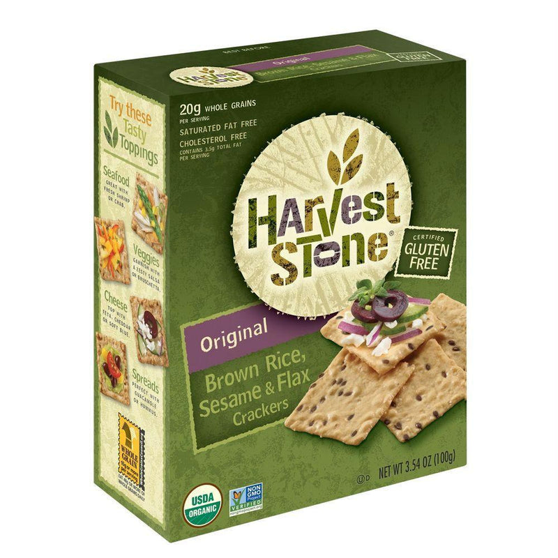 Harvest Stone Original Brown Rice, Sesame & Flax Cracker, 3.54 OZ (Pack of 6)
