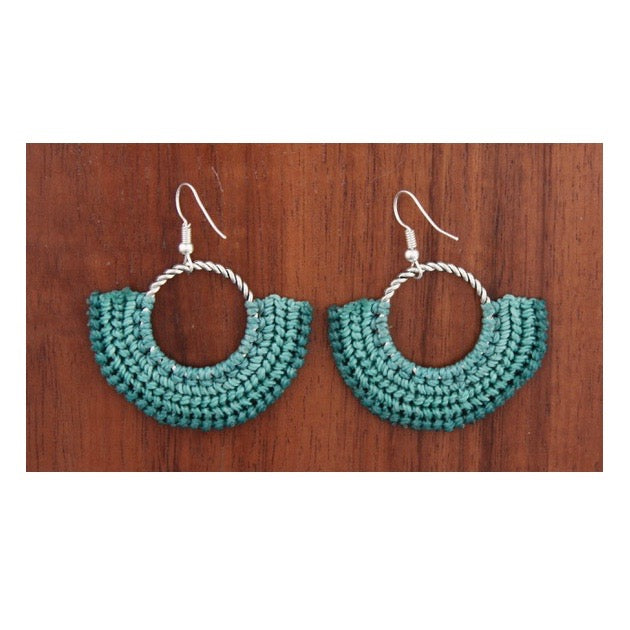 Xantus Macrame Round Earrings - Silver