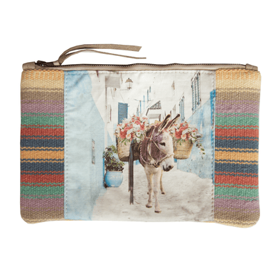 DONKEY w/ FLOWERS ON CANVAS CLUTCH