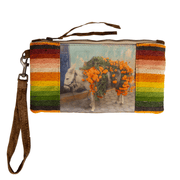 WHITE DONKEY w/ ORANGE FLOWERS ON LEATHER w/ VINTAGE SERAPE MINI WRISTLET