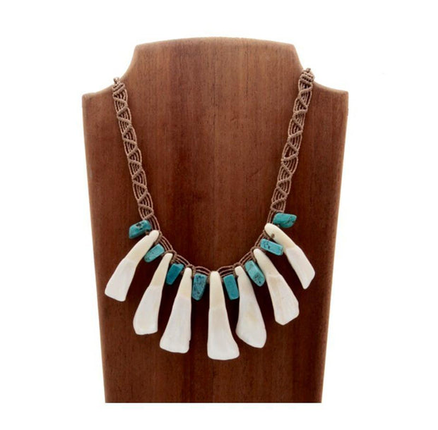 Bone & Turquoise Tribal Necklace