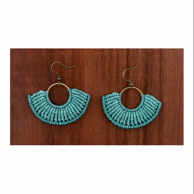Macrame Round Small Earrings - Brass