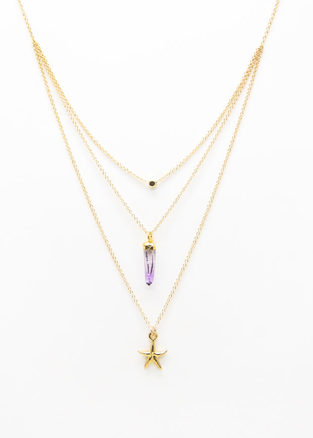 Cube/ Amethyst/ Starfish/ Triple Necklace