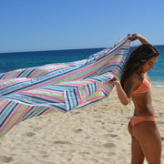Salmon/Dark Green Beach Blanket / Leticia