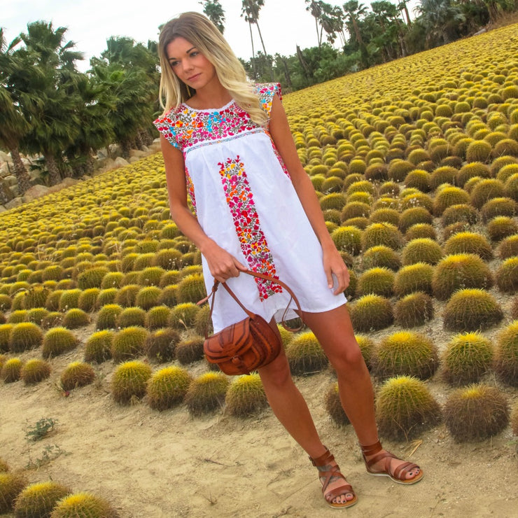 Embroidered Oaxaca Dress - White