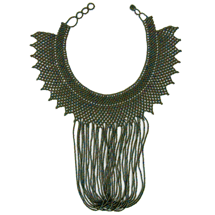 Round Beaded Necklace -  w. Round Fringes