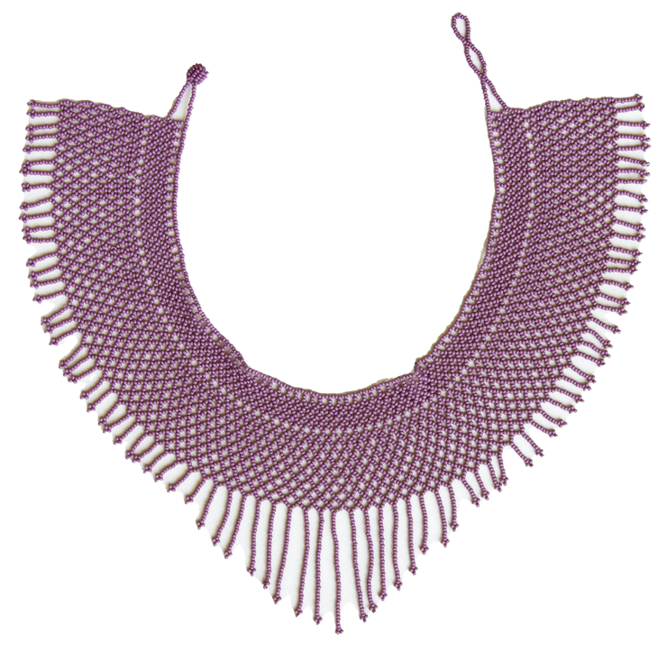 Round Beaded Necklace - w. Small Fringes