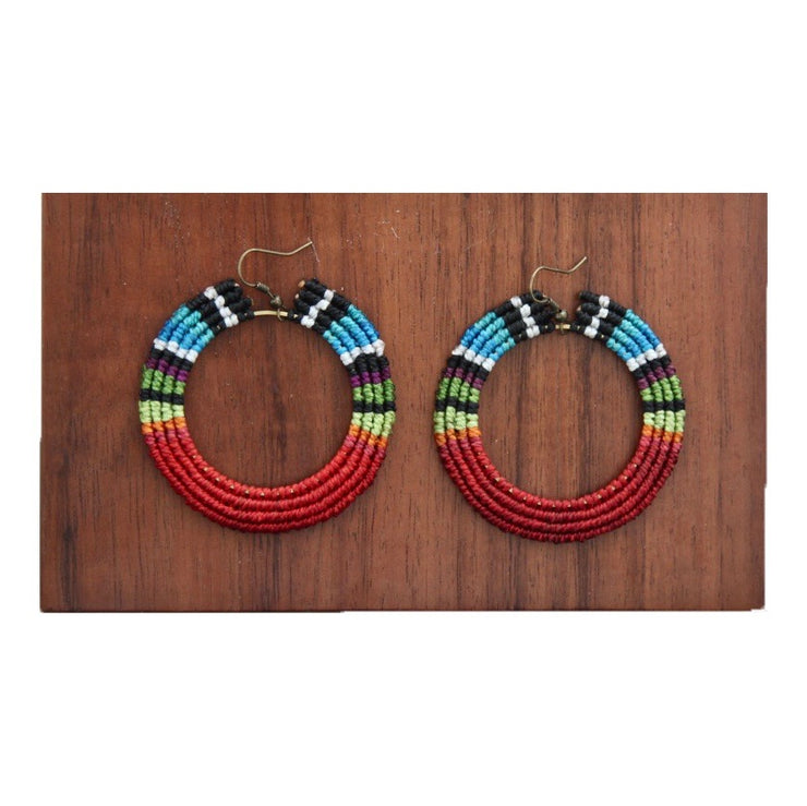Big Hoop Macrame Multicolor Earrings