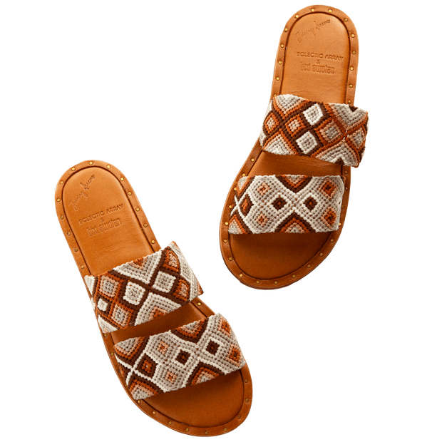 Hasen Woven Bands Tan Lines Sandals