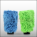 The Rag Company Knobby Microfiber Chenille Mitts Lime & Blue (2pk)