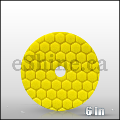 "Chemical Guys 6.5"" Quantum Hex Yellow Heavy Cut Pad (BUFX111HEX6)"