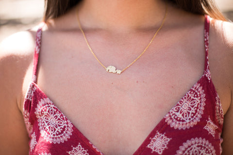 Baby and mama elephant necklace - Happy Poppy Jewelry