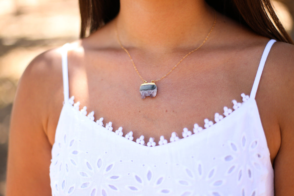 Andy Amethyst Slice Necklace - Happy Poppy Jewelry