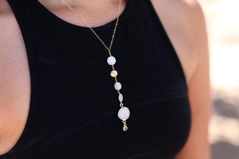 Dia Druzy Lariat or 'Y' Necklace - Happy Poppy Jewelry