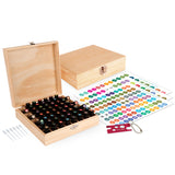 Wood Essential Oil Box Organizer - Holds 52 (5-15 ml) & 6 (10ml Roll-On) Essential Oil Bottles