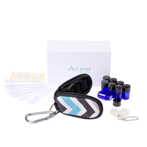 Essential Oil Key Chain Kit (Blue/Green Chevron)