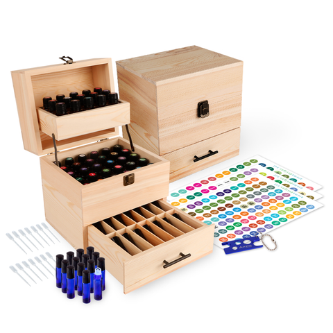 Wood Essential Oil Box Organizer - Holds 45 (5-15 ml) & 14 (10ml Roll-On) Essential Oil Bottles