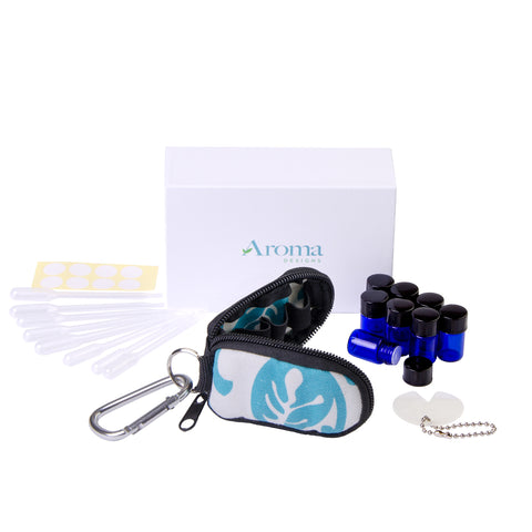 Stylish Essential Oil Key Chain Kit (Blue Floral)