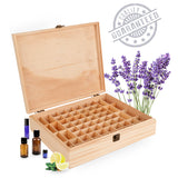 Wood Essential Oil Box Organizer - Holds 68 Oils