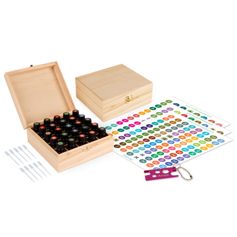 Wood Essential Oil Box Organizer - Holds 25 Oils