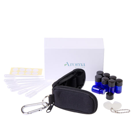 Essential Oil Key Chain W/ Vials (Black)