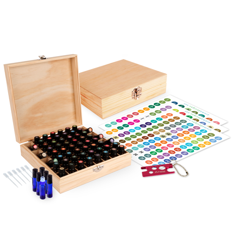 Wood Essential Oil Box Organizer - Holds 52 (5-15 ml) & 6 (10ml Roll-On) Essential Oil Bottles - Includes Bottles