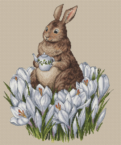 A Rabbit in the Crocuses