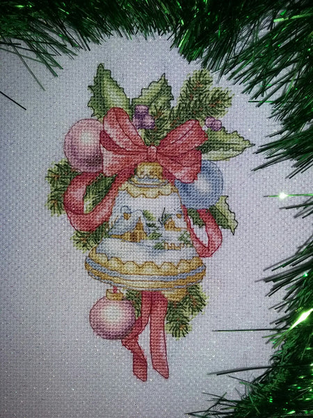 Christmas Bell With Winter Pattern Crossstitchclub