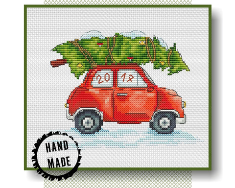christmas car cross stitch pattern crossstitchclub
