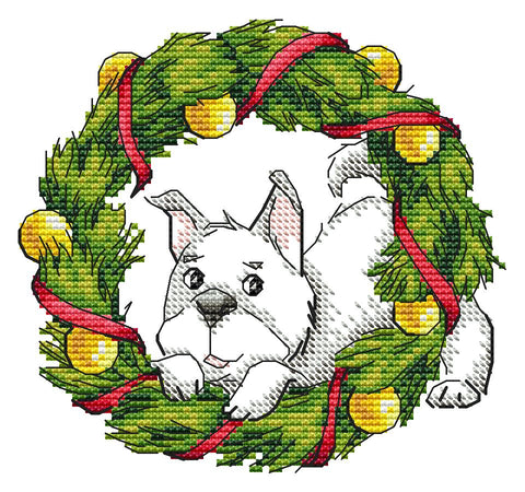Dog with Christmas Wreath