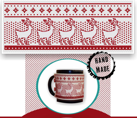 Cozy Mug Sleeve with Deer Pattern