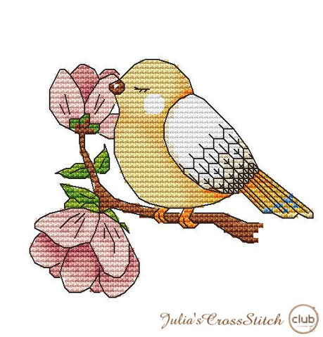 free cross stitch patterns -  A Spring Bird - www.crossstitchclub.com - 1