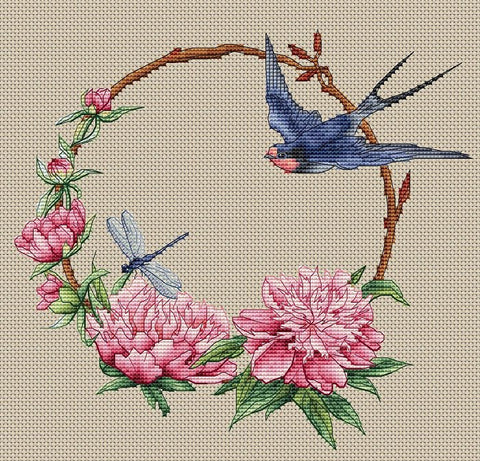Swallow and Peonies