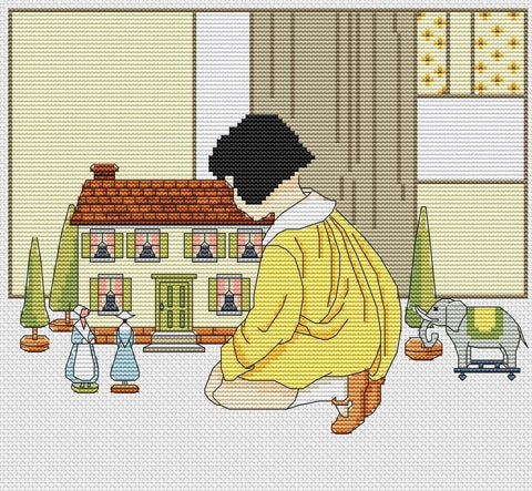 free cross stitch patterns -  A Girl and the Doll House - www.crossstitchclub.com