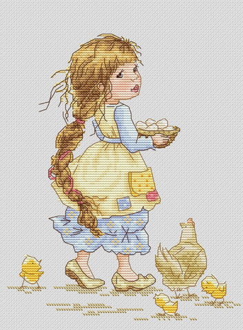 free cross stitch patterns -  A Girl with Chickens - www.crossstitchclub.com - 1